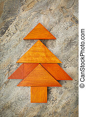 tangram Christmas tree - abstract picture of a Christmas...