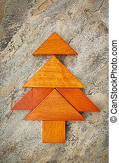 tangram, karácsony, fa