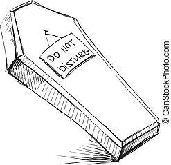 faire, pas, déranger, cercueil, isolé, blanc