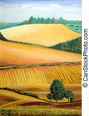 Italian landscape - Picturesque farmland in Tuscany, Italy....