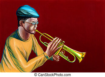 Jazz trumpet player - A jazzman playing trumpet. Hand...
