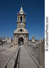 Arequipa Cathedral - One of two bell towers of the main...