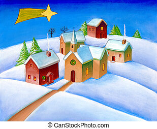Christmas landscape - A small village in a snowy landscape....