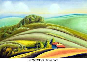 Country landscape - Tuscany landscape, Italy. Hand painted...