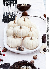 White Autumn Table Setting