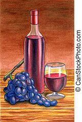Grape and wine. Hand painted illustration