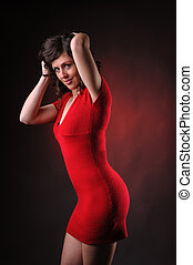 provocative woman in red dress - sensual provocative woman...