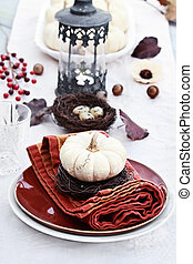 Autumn Table Setting - Beautiful table set with white...