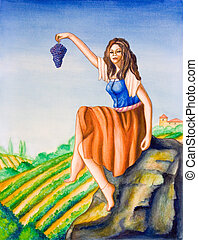 Country girl and vineyard - Beautiful country girl showing a...