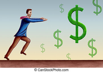 Dollar symbols - Bussiness man chasing some falling dollar...