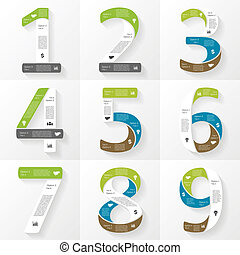 Vector font infographic, diagram, presentation Numbers 1, 2,...