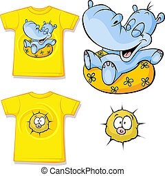 kid shirt with funny hippo love printed - isolated on white,...