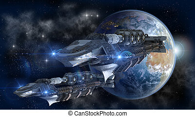 Spaceship fleet leaving Earth as a 3D concept for futuristic...