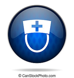 hospital internet blue icon