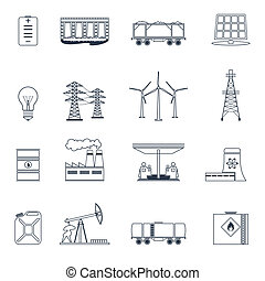 Energy icons outline set - Energy and environment icons...