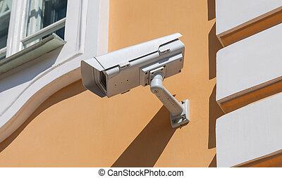 壁,  CCTV, カメラ, 背景, セキュリティー, ∥あるいは∥