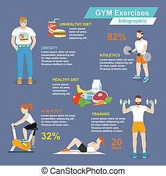Gym sport exercises infographic - Gym sport exercises...