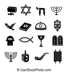 Judaism icons set black - Juwish church traditional...