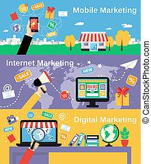 Marketing line banners set - Digital mobile internet...