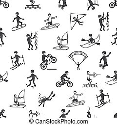 Extreme sports seamless pattern of diving climbing sailing...