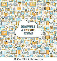 Business seamless pattern - Business and office icons...
