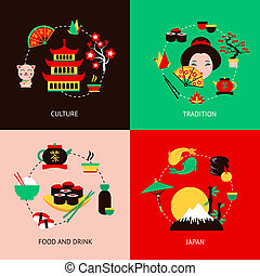 Japan flat set - Japan culture tradition food and drink flat...