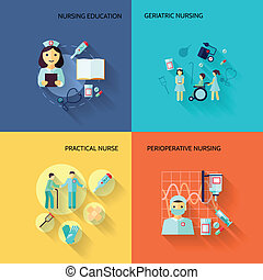 Nurse icon set flat - Nurse education geriatric practical...