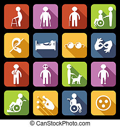 Disabled Icons Set Flat - Disabled people help flat icons...