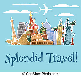 Landmarks scrapbook background - World landmarks sticker...