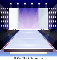 Fashion runway poster - Empty illuminated fashion runway...