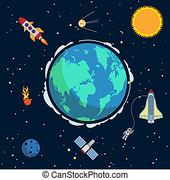 Earth in space poster with globe and spacecrafts and...