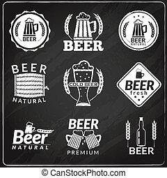 Beer chalkboard emblems - Chalkboard emblems of fresh...