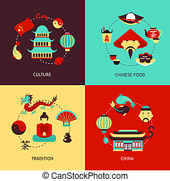China illustration set - China culture chinese food...