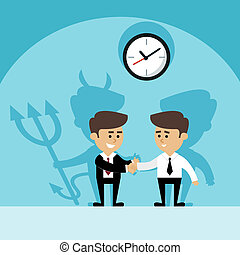 Businessman devil shadow - Businessman shaking hands with...