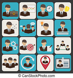 Business and management icons set with businessmen avatars...