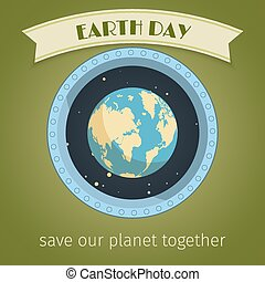 Earth day poster with globe in illuminator and ribbon banner...