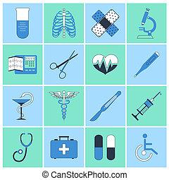 médico, ícones, apartamento, linha