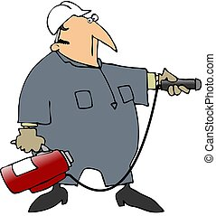 Man Aiming A Fire Extinguisher - This illustration depicts a...