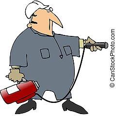 人, 狙いを定める, a, 火, 消火器