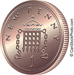 vector British money, coin one pens - British money bronze...
