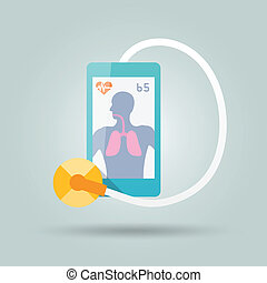 Mobile medicine concept with smartphone and stethoscope flat...