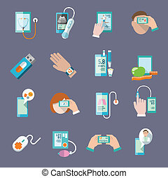 Mobile health icons set flat - Mobile health online pharmacy...