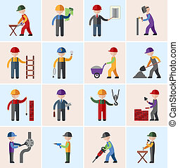 Construction worker icons flat - Construction worker people...