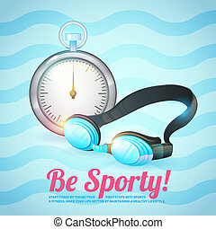 Healthy lifestyle background with stopwatch and swimming...