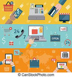 T-commerce banner flat - E-commerce banners flat set of...