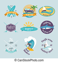 Surfing labels set - Beach surfing summer yachting labels...