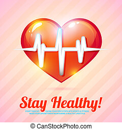 Healthy lifestyle background with heart beat background...