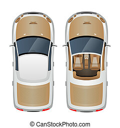 Car top view - Cabriolet car with closed and open roof top...