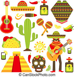 Mexico decorative icons set - Mexico travel symbols...