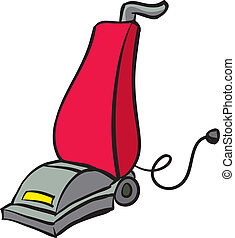 Vacuum - An Illustration of a Red and Gray Vacuum